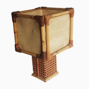 Lampada da tavolo in bambù e vimini, anni '70