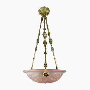 French Art Deco Pink Glass and Bronze Chandelier from Verrerie D'Art Degué, 1920s