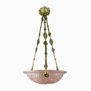 Lampadario Art Déco in vetro rosa e bronzo di Verrerie D'Art Degué, Francia, anni '20