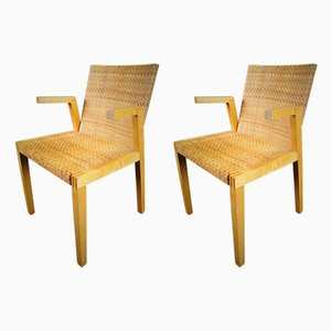 Braided Plywood Armchairs, 1970s, Set of 2