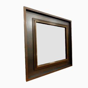Großer Spiegel mit Rahmen aus Metall & Rauchglas, 1970er