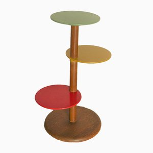 Multicolored Art Deco Wooden Tiered Flower Stand, 1930s