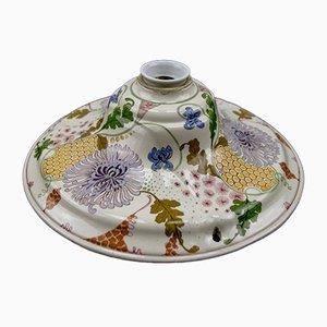 Lampada da soffitto Art Nouveau con fiori in ceramica, anni '20