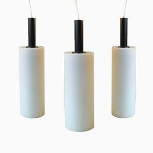 Lámparas colgantes vintage cilíndricas en blanco y negro de Lyfa. Juego de 3