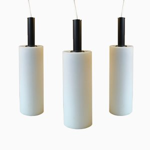 Vintage Black & White Cylindrical Pendant Lamps from Lyfa, Set of 3