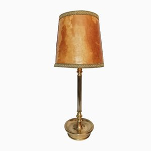 Mid-Century Brass and Leather Table Lamp from Metalarte