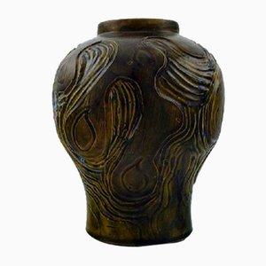 Glasierte Jugendstil Keramikvase von Møller & Bøgely, 1920er
