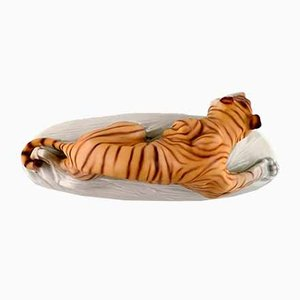 Porcelain Crouching Tiger Figure by Otto Jarl for Royal Dux, 1940s