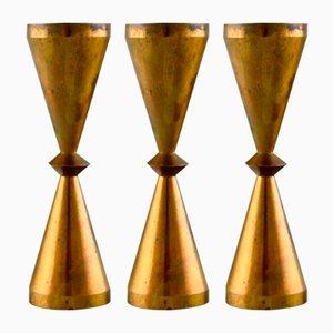Kerzenständer aus Messing von Jens Quistgaard, 1960er, 3er Set