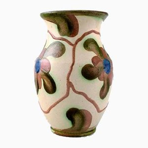 Glazed Ceramic Flower Vase from Höganäs, 1940s
