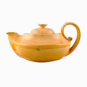 Vintage Teekanne aus gelb glasierter Keramik von Kähler