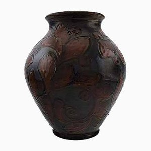 Kastanienbraun glasierte Vintage Keramikvase von Kähler
