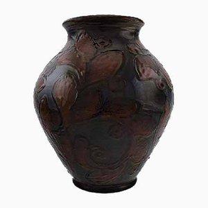 Vaso vintage in ceramica bordeaux smaltata di Kähler