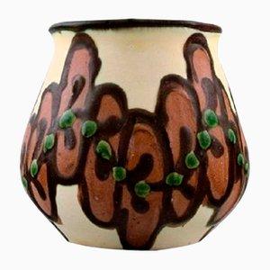 Vintage Blumenvase aus kastanienbraun glasierter Keramik von Kähler