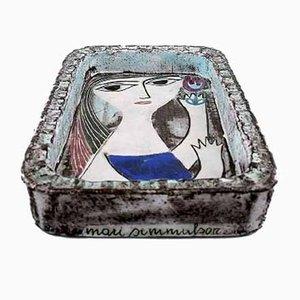 Glazed Stoneware Portrait of a Woman by Mari Simmulson for Upsala-Ekeby, 1960s