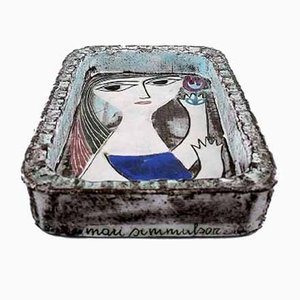 Portrait einer Frau aus glasiertem Steingut von Mari Simmulson für Upsala-Ekeby, 1960er