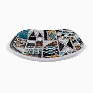 Schale aus glasiertem Steingut mit geometrischem Muster von Ingrid Atterberg für Upsala Ekeby, 1960er