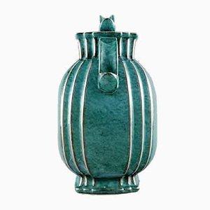 Art Deco Ceramic Lidded Argenta Jar by Wilhelm Kåge for Gustavsberg, 1940s
