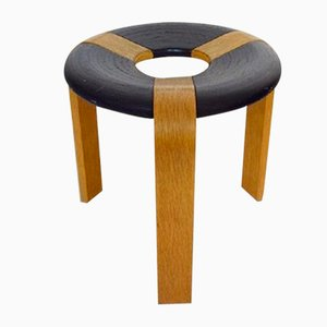 Oak Veneer & Lacquer 4550 Stool from Magnus Olesen, 1970s