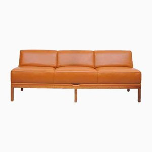 Mid-Century Cognac Leather Sofa by Johannes Spalt for Wittmann
