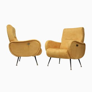 Velvet Armchairs, 1959, Set of 2