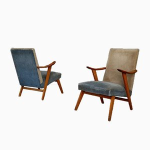 Scandinavian Cherrywood and Velvet Armchairs, 1953, Set of 2