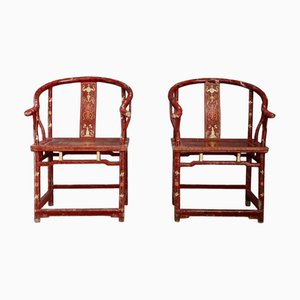 Antique Red and Gold Lacquered Wood Lounge Chairs, Set of 2