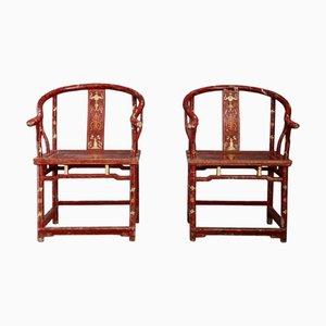 Sillones antiguos de madera lacada en rojo y dorado. Juego de 2