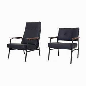 Dutch Black Leatherette High and Low Lounge Chairs from Avanti, 1960s, Set of 2