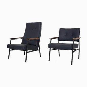 Niederländische Sessel schwarzem Kunstlederbezug mit hoher & niedriger Lehne von Avanti, 1960er, 2er Set