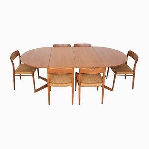 Dänischer Modell 75 Esstisch aus Teak & Stühle mit Sitzen aus Papierkordelgeflecht von Niels Otto Møller für J. L. Moller Models, 1950er, 7er Set