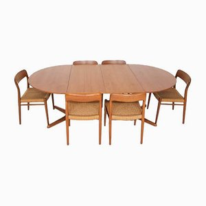 Danish Model 75 Teak Dining Table & Paper Cord Chairs by Niels Otto Møller for J.L. Moller Models, 1950s, Set of 7