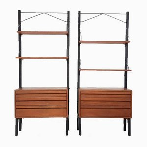 Danish Teak and Metal Wall Unit by Poul Cadovius for Royal System, 1950s