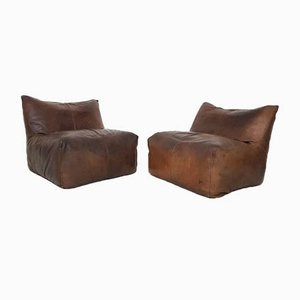 Italian Brown Leather Lounge Chairs by Mario Bellini for B&B Italia/C&B Italia, 1960s, Set of 2