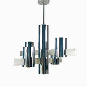 Chrome Chandelier by Gaetano Sciolari, 1960s