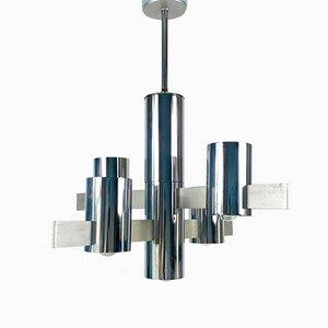 Lampadario in metallo cromato di Gaetano Sciolari, anni '60