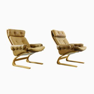 Brown Leather Armchairs by Elsa & Nordahl Solheim for Rybo Rykken & Co, 1970s, Set of 2