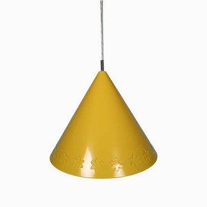 Gelbe Mid-Century Deckenlampe mit Blumendekor