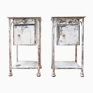 Industrial Metal and Marble Bedside Cabinets, 1940s, Set of 2