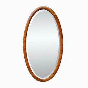 Abgeschrägter Mid-Century Spiegel mit Holzrahmen