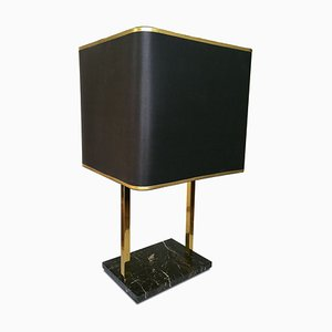 Black Marble and Brass Table Lamp, 1970s