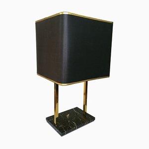 Tischlampe aus schwarzem Marmor & Messing, 1970er