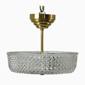 Mid-Century Swedish Crystal Pendant Lamp from Orrefors, 1960s