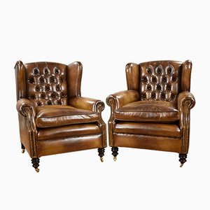 Antique Victorian Whiskey Brown Leather Armchairs, Set of 2