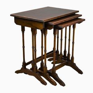 Tavolini ad incastro antichi edoardiani in mogano