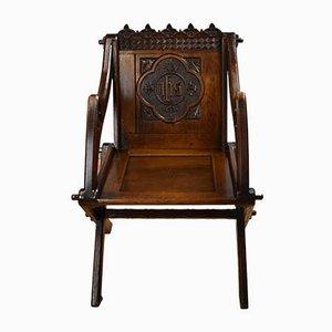 Antiker viktorianischer Glastonbury Stuhl aus Eiche mit Schnitzereien