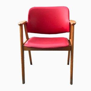 Silla de escritorio húngara de cuero sintético rojo, años 60