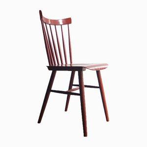 Roter dänischer Beistellstuhl aus Holz, 1950er