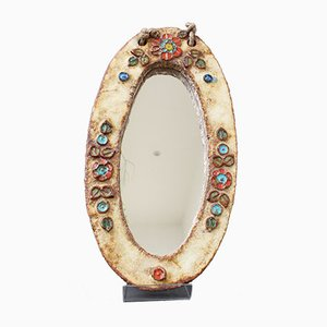 Enamel and Ceramic Floral Decorated Mirror by La Roue, 1960s
