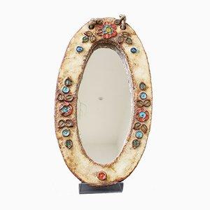 Espejo con decoración floral esmaltado de cerámica de La Roue, años 60